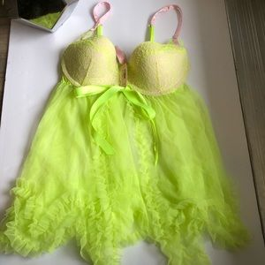 Victoria secret lingerie size 34c lime green